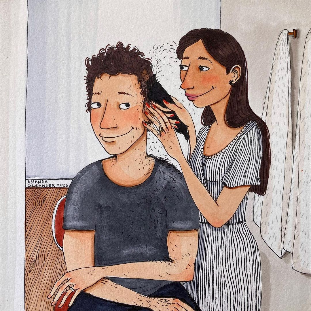 artwork of a woman trimming his man's hair