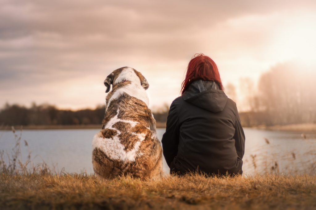 woman with her dog in the lake
