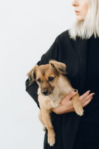 woman in black long sleeve shirt holding brown short coated dog