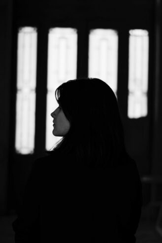 gray scale photo of a woman