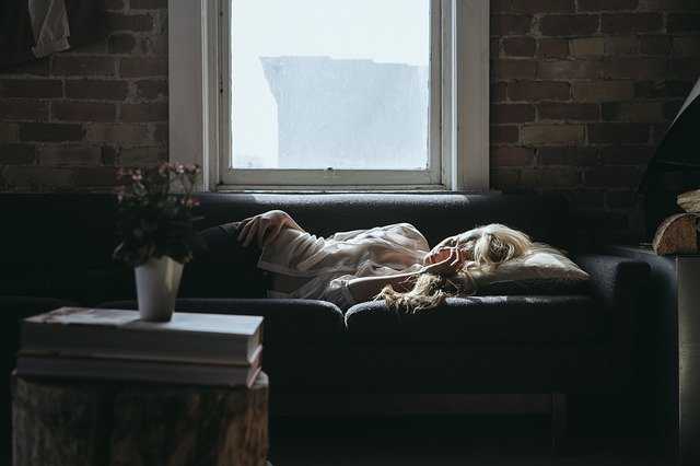 woman sleeping in the sofa