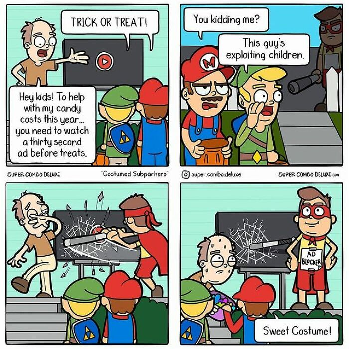 comics about a man offering candies to kids with a condition
