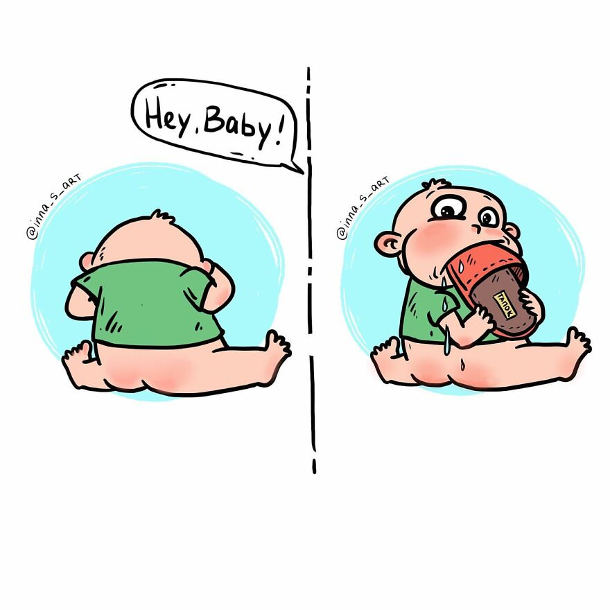 comics of a baby putting slipper to his mouth