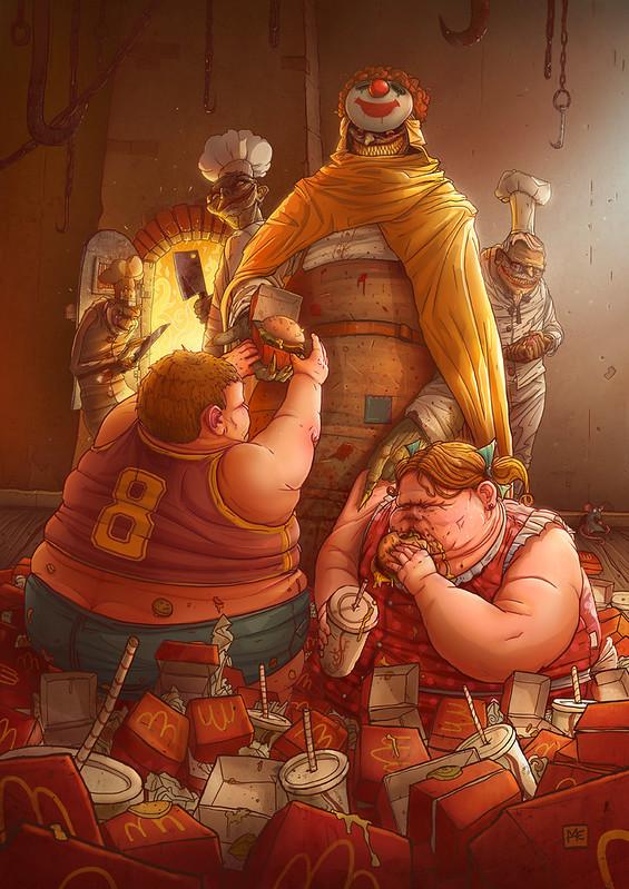 illustration of fat children eating fast food