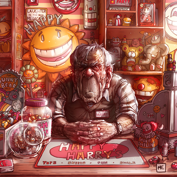 illustration of a sad man selling toys and sweets