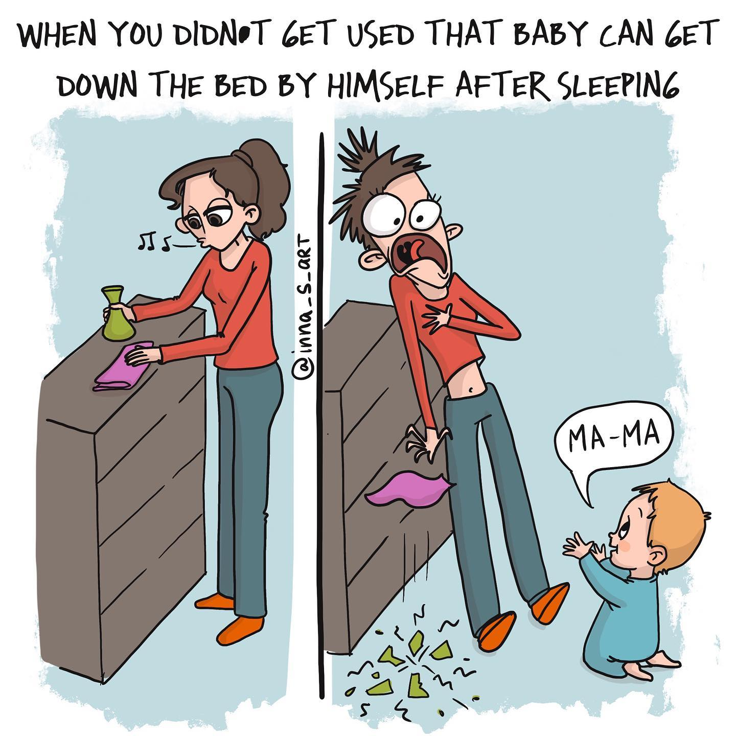 comics of a shocked mom because the vase got broken by her child