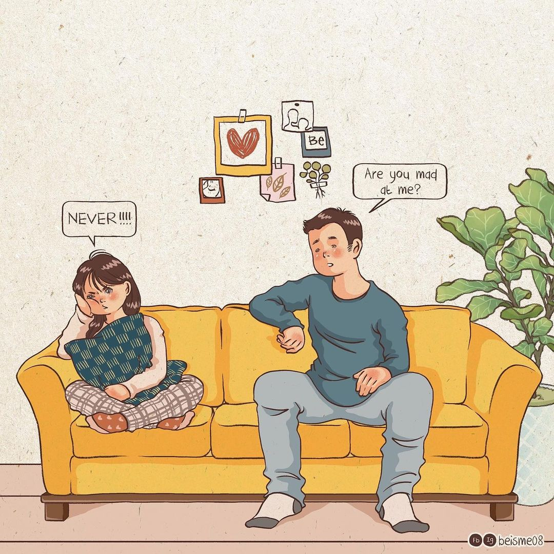 comics of a couple arguing on a sofa