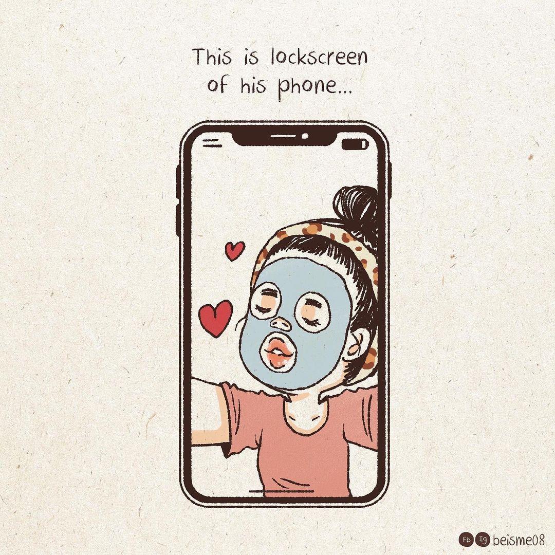 comics of a woman doing skincare on a lock screen