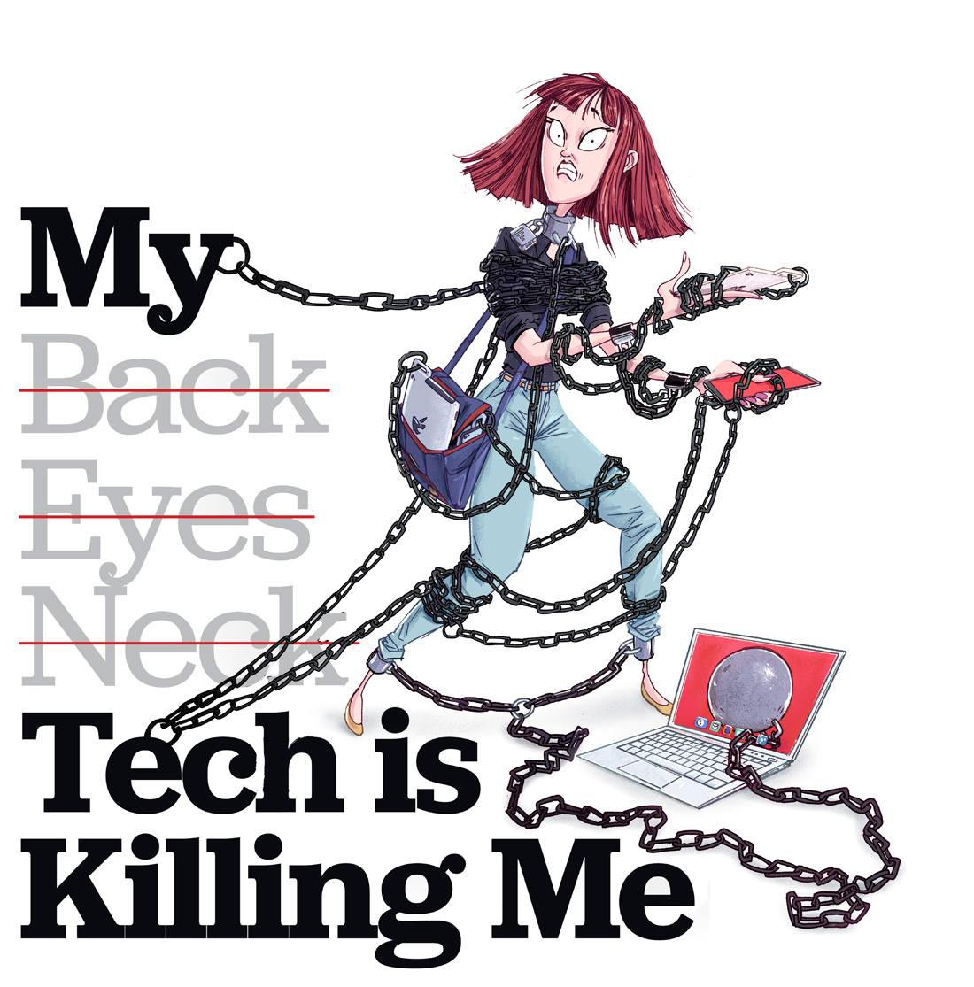 illustration of a woman chained by gadgets