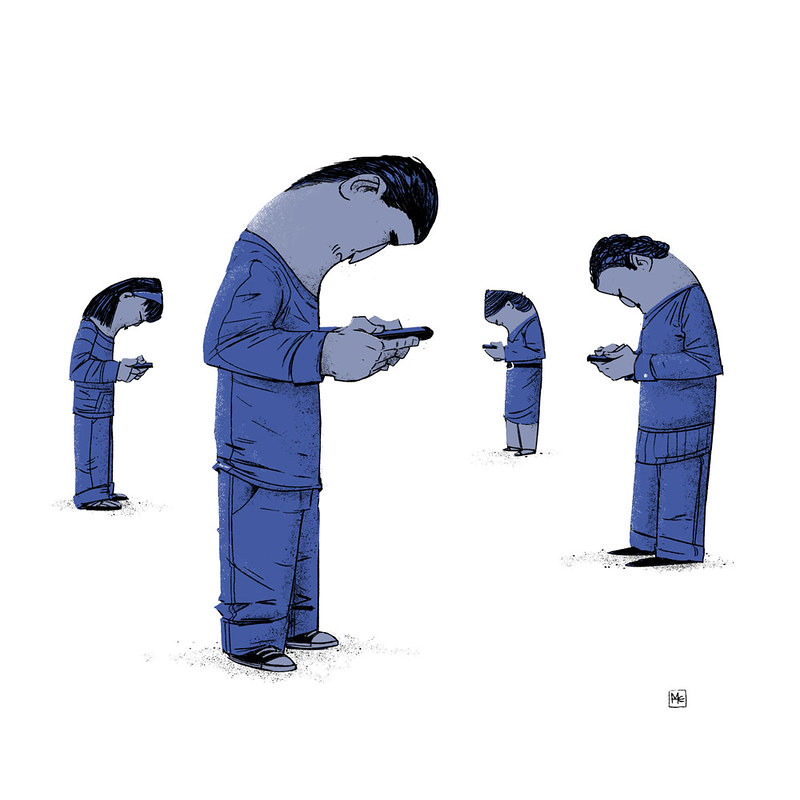 illustration of people looking at their smartphones