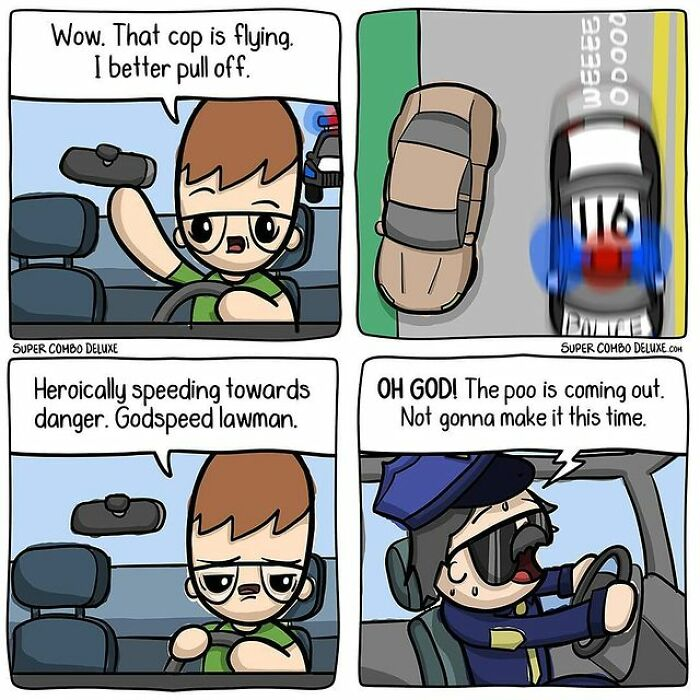 comics about man and a policeman driving