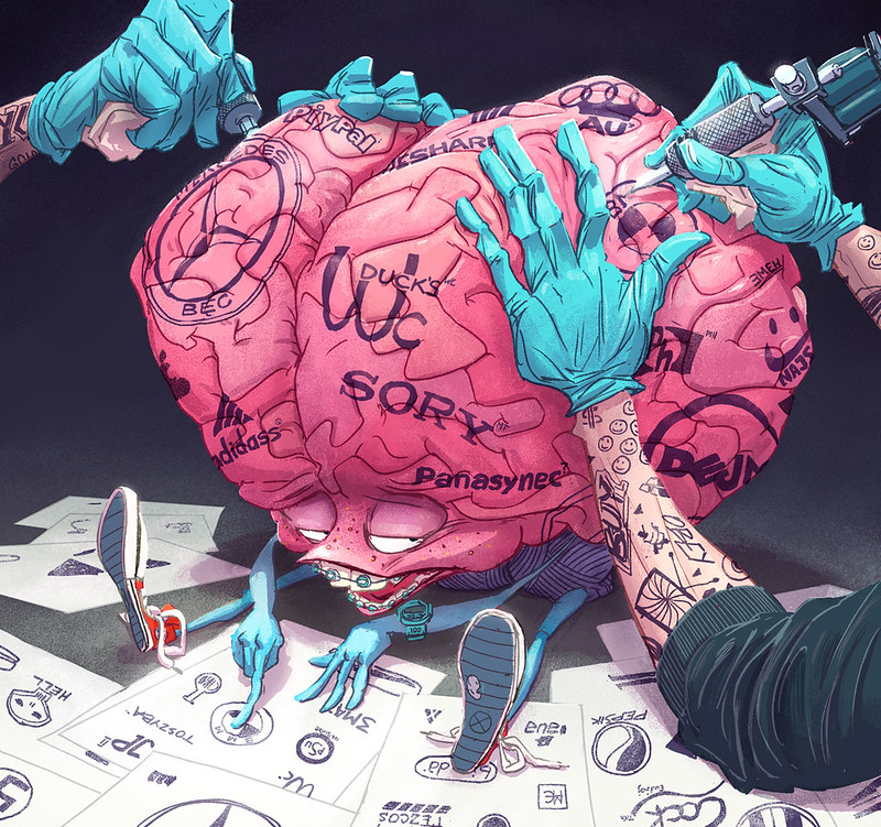 illustration of a brain being tattooed