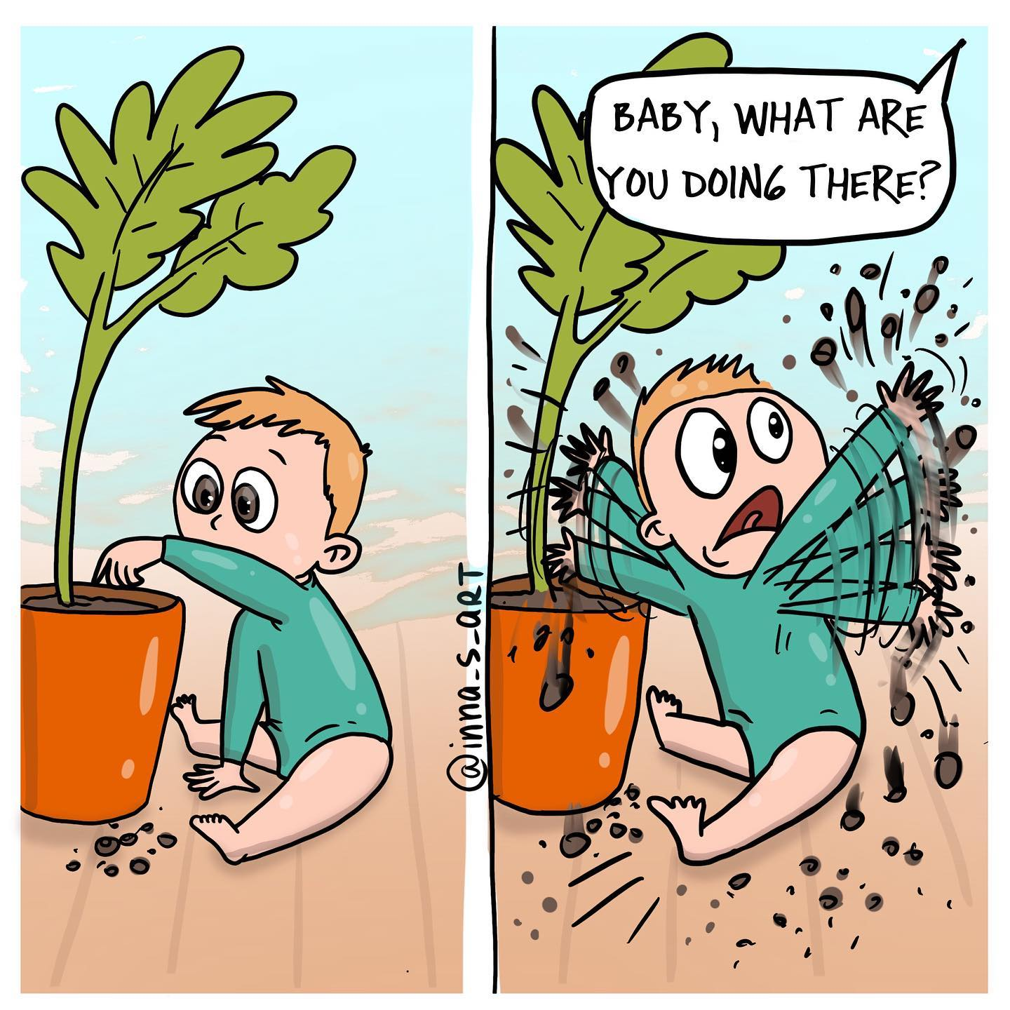 comics about a child playing with the plants