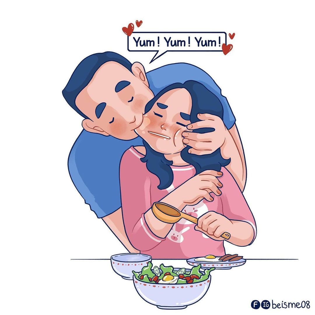 a comics of a couple being playful while eating
