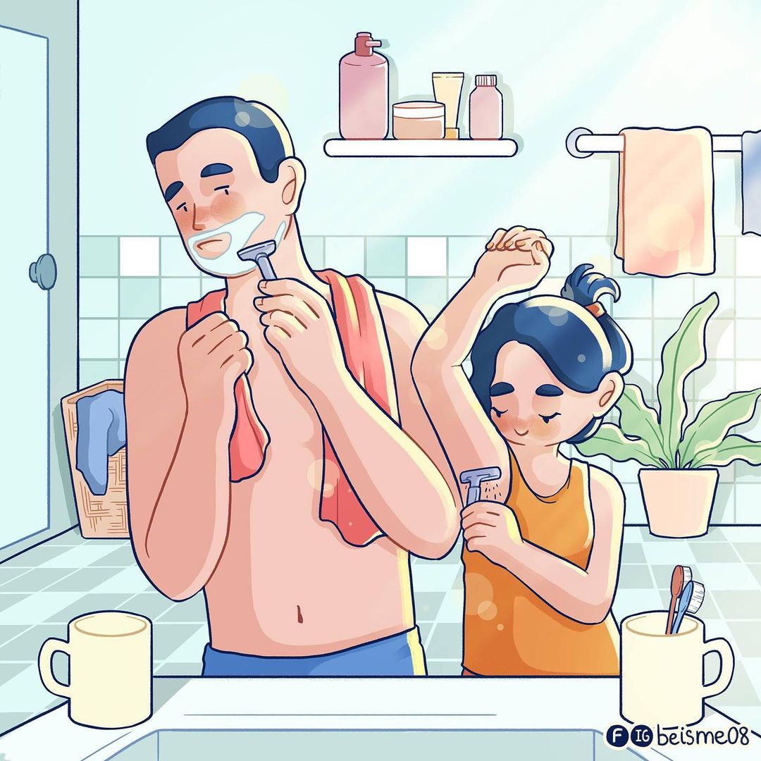 comics of a couple shaving body hairs together
