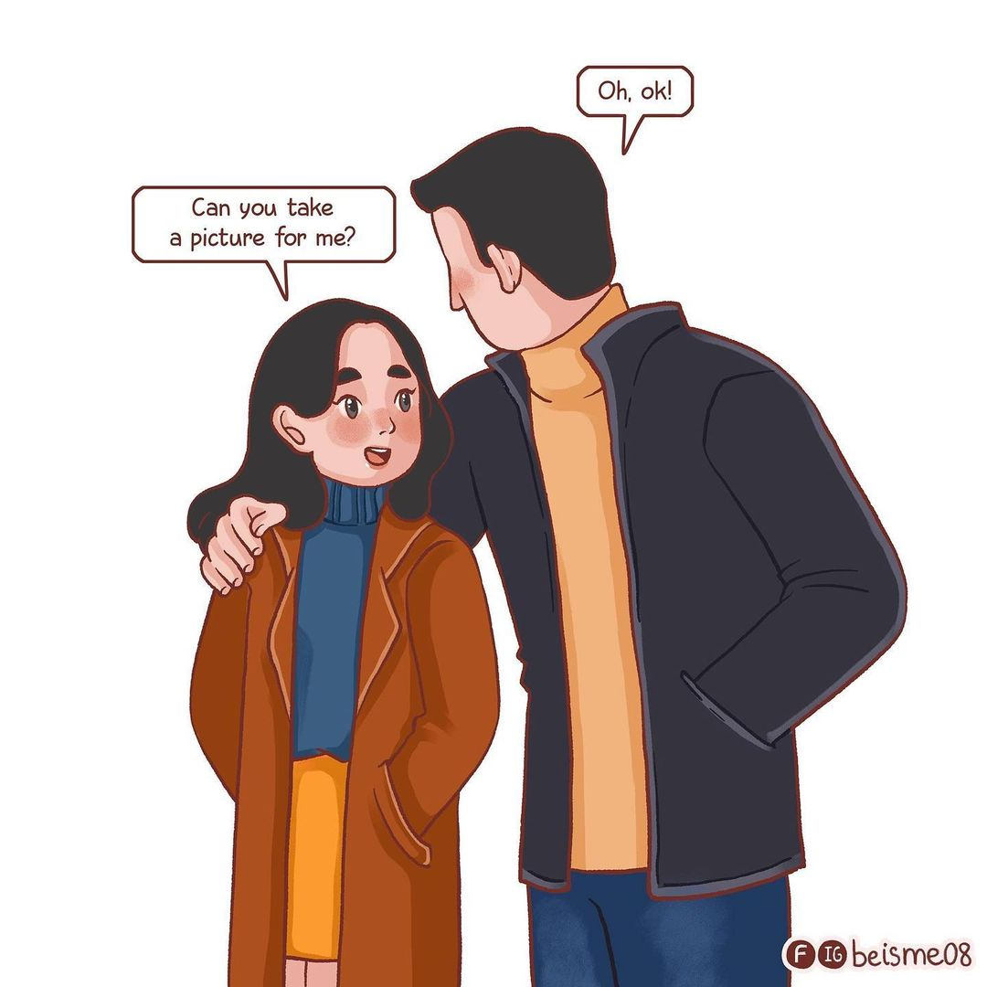 comics of a woman asking his man to take a photo of her