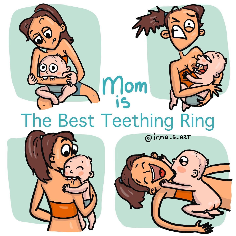 comics of a child biting her mom