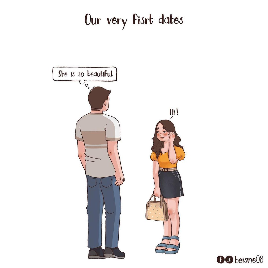 comics of couple going on their first date
