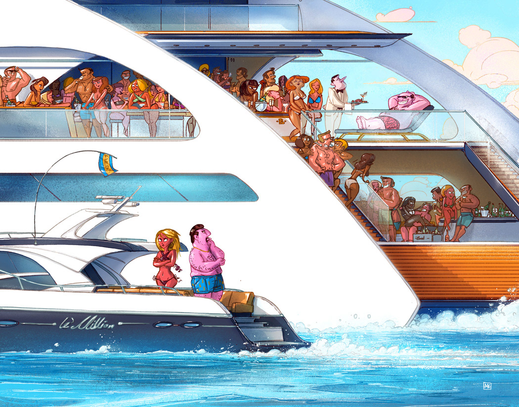 illustration of unhappy rich people on a yacht