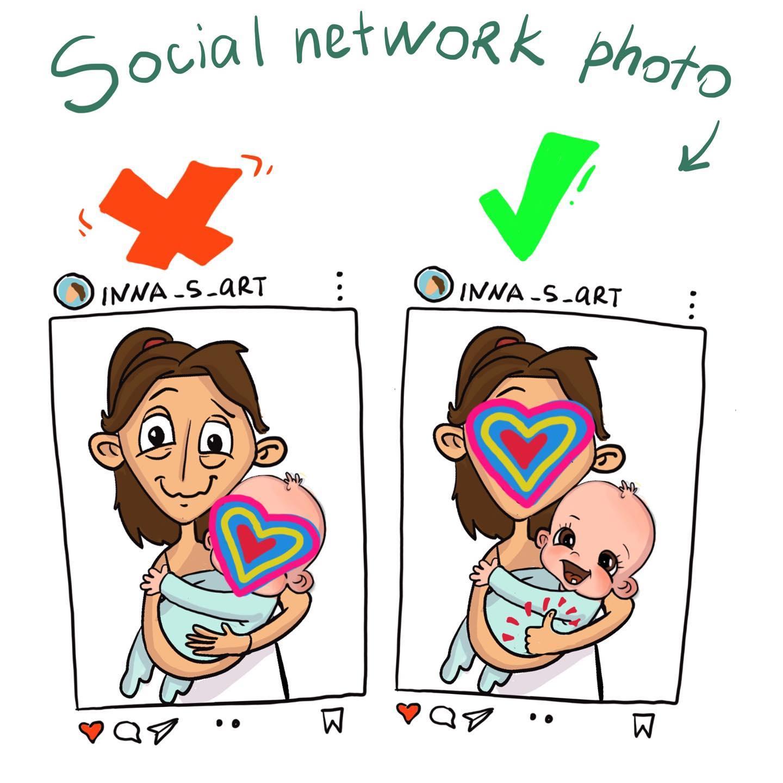 comics of a mother's social media profile