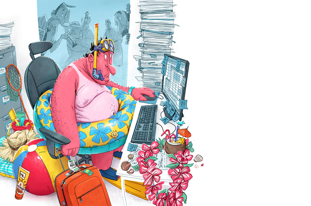 illustration of a man with a beach outfit and things while working on his computer