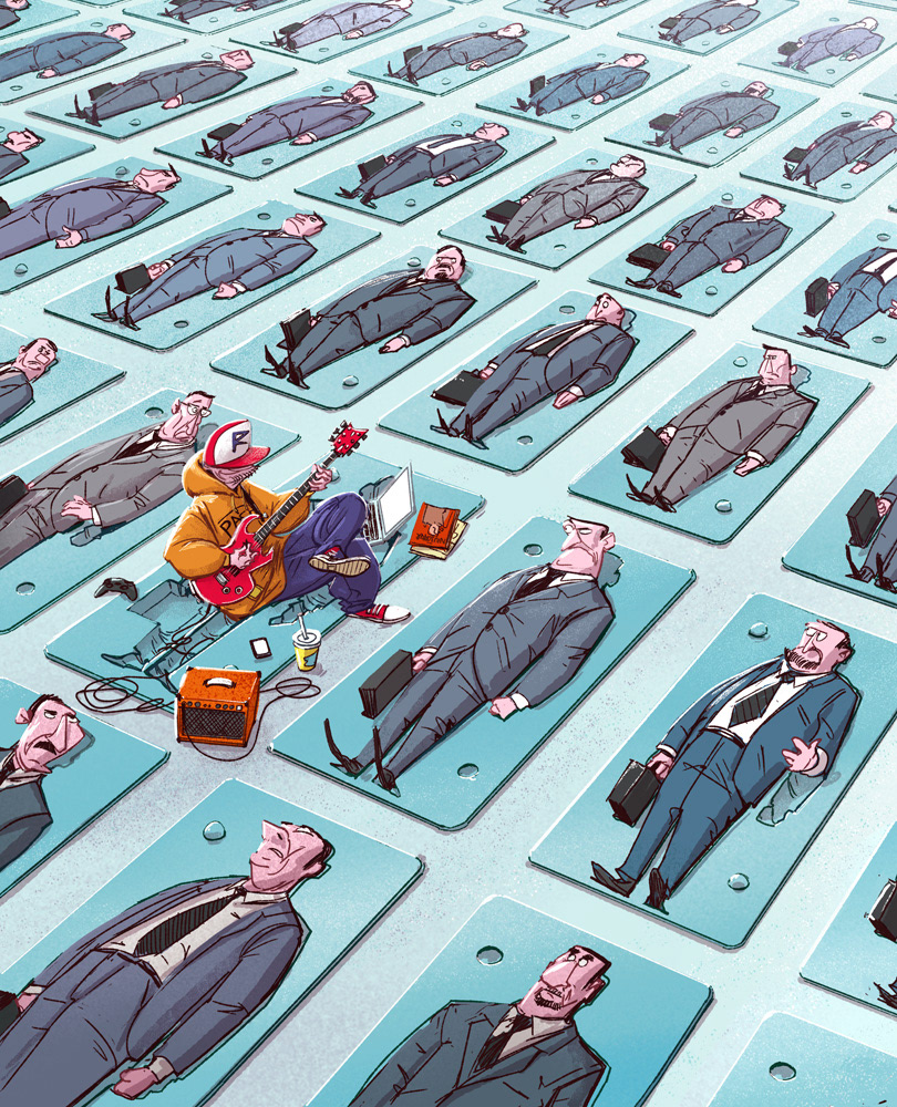 illustration of a man playing the guitar to men lying down in their corporate attires