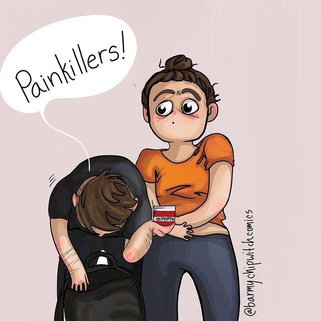 comics of a woman talking to his sick girlfriend