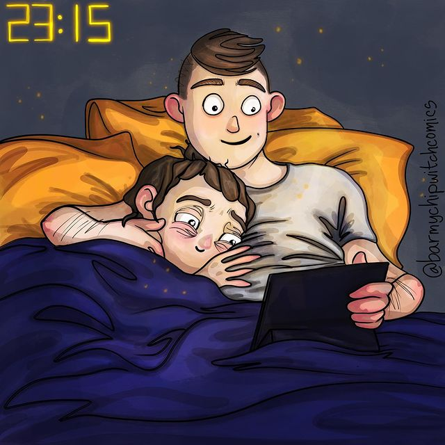 comics of a couple watching movies on bed