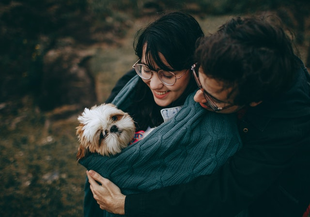 couple hugging a dog