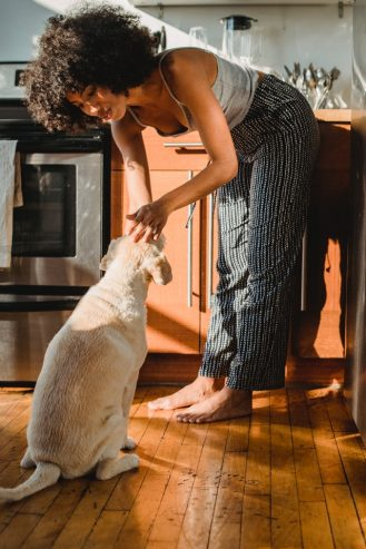 smiling black woman caressing a dog at the kitchen