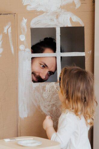 man staring at his child