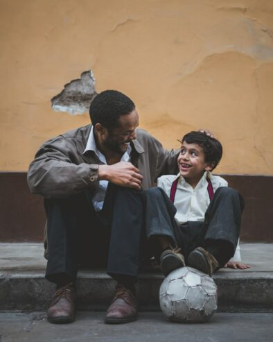 man talking with a kid
