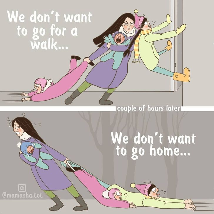 comics of a mom dragging her kids because they do not want to go home