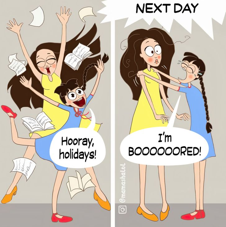 comics of a child telling her mom that she feels bored