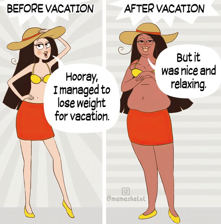comics about a mom's before and after vacation