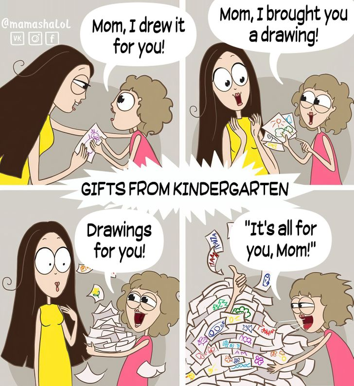comics of a child giving a drawing to her mom