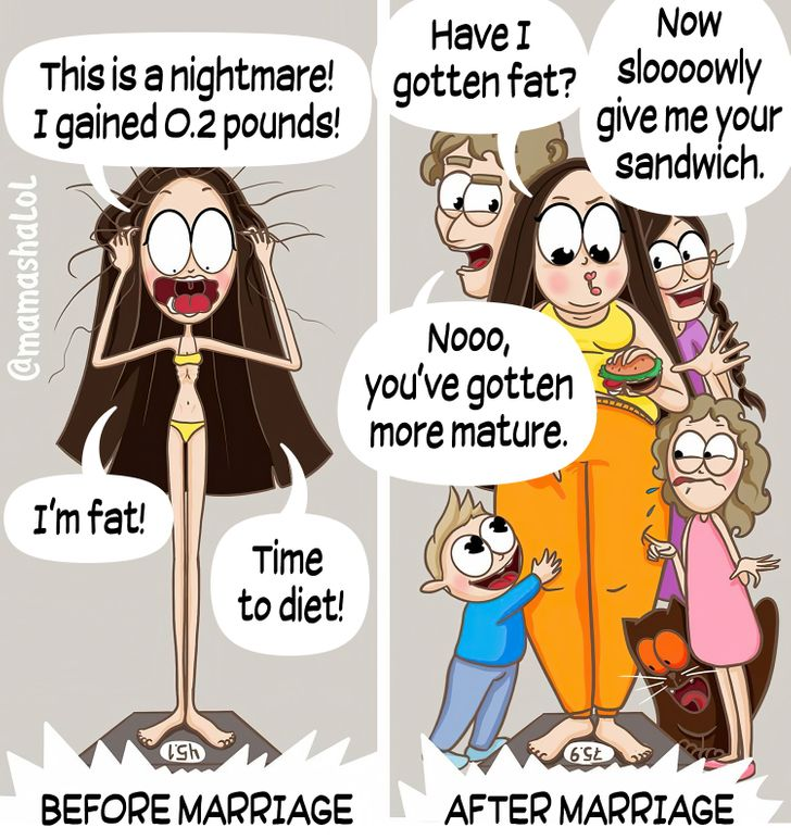 comics about a mom comparing her weight before and after marriage