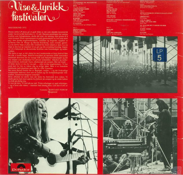 Baksiden på vinylen utgitt 1972.