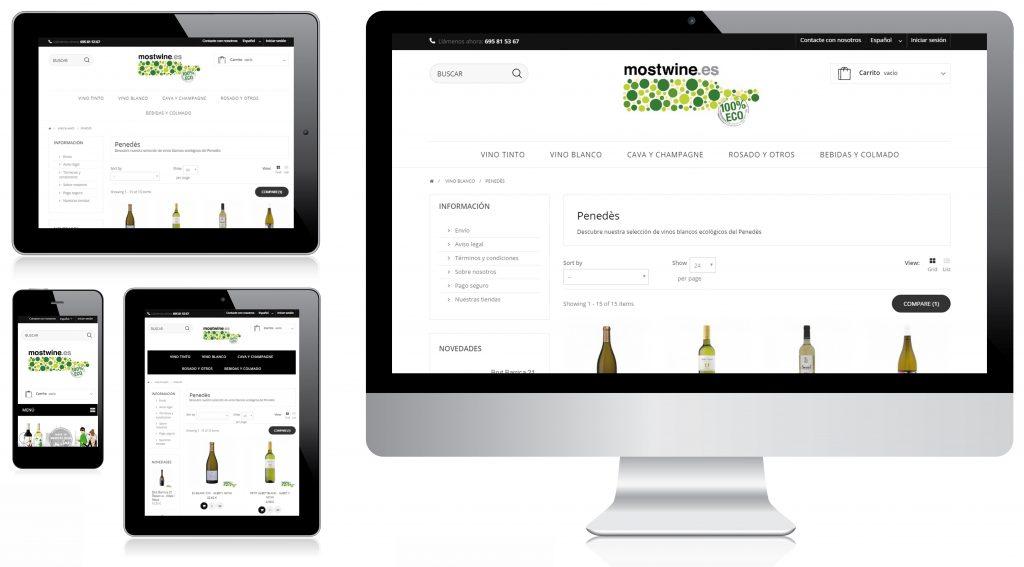Vista de la tienda online de Mostwine en varios dispositivos