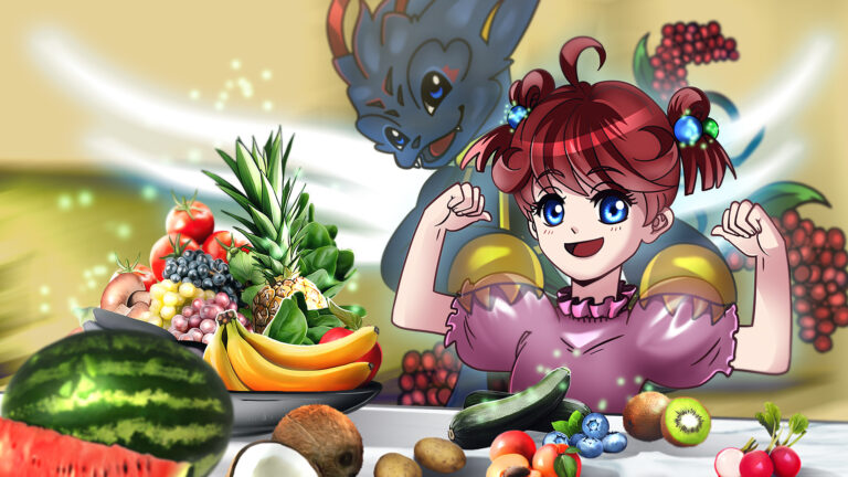 un tavolo pieno di frutta e verdura,ragazzina sorridente e felice,un vvital monster alle sue spalle, la protegge