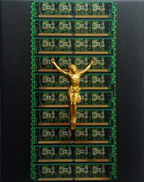 Scientific sculpture Jesus techno by Viti
