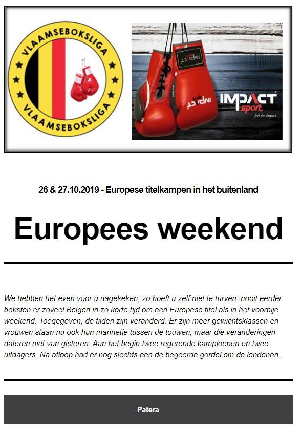 Europees weekend nieuwsbiref 21ste publicatie 2019