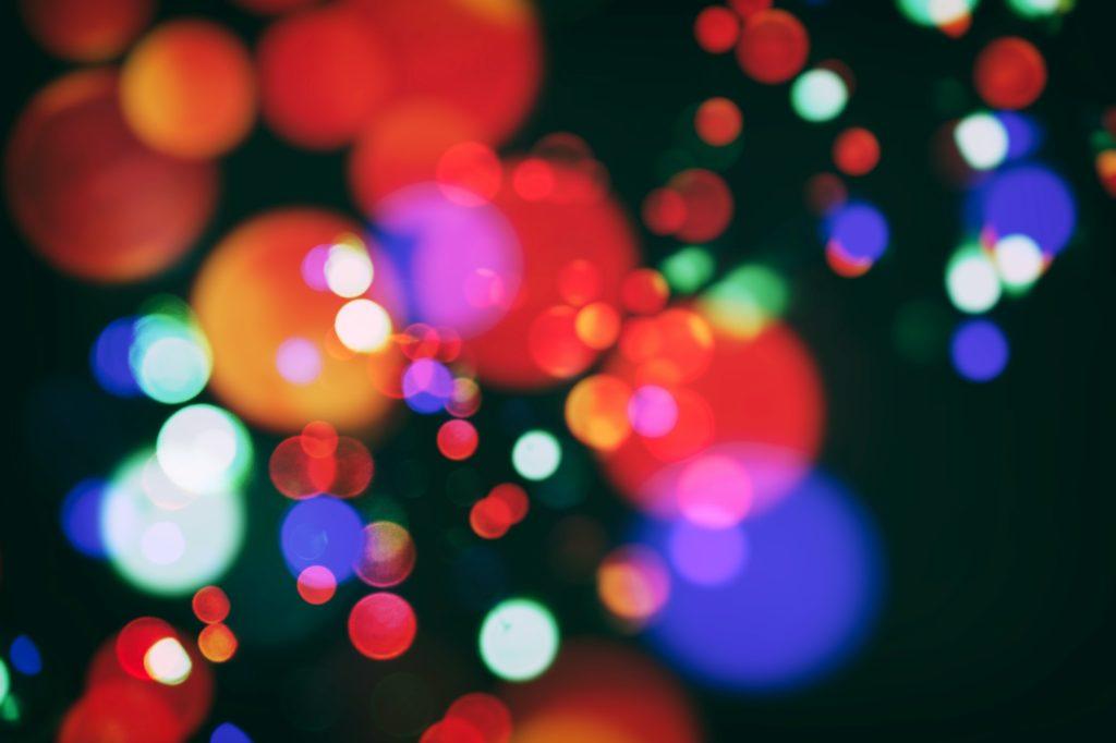 color bokeh with christmas lights