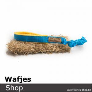 Custom Hondenspeeltje Wafjes-Bungee-Teddy Aqua-Yellow