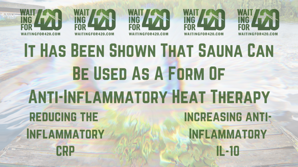 Infographic saying: It Has Been Shown That Sauna Can Be Used As A Form Of Anti-Inflammatory Heat Therapy. reducing the Inflammatory CRP.  increasinganti-Inflammatory IL-10.