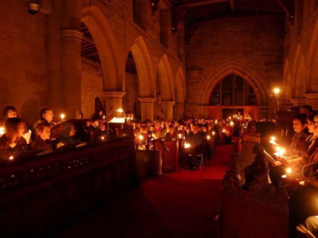 Christmas church congregation