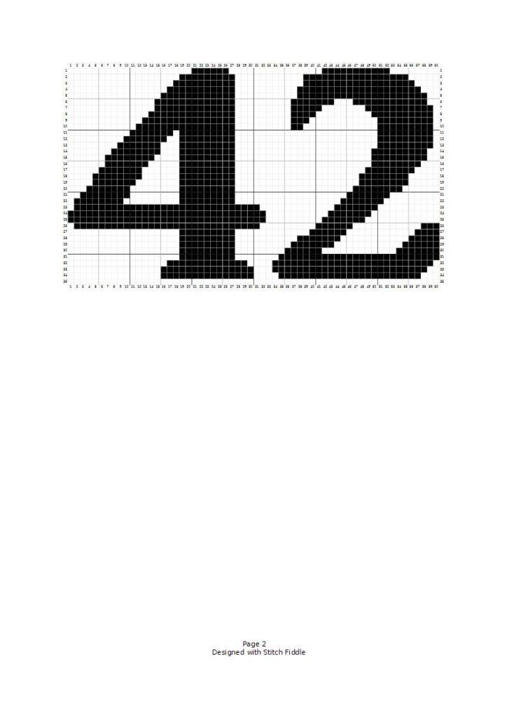 Siffran 42 i korsstygn.