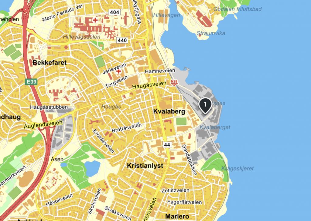 Kart med plassering