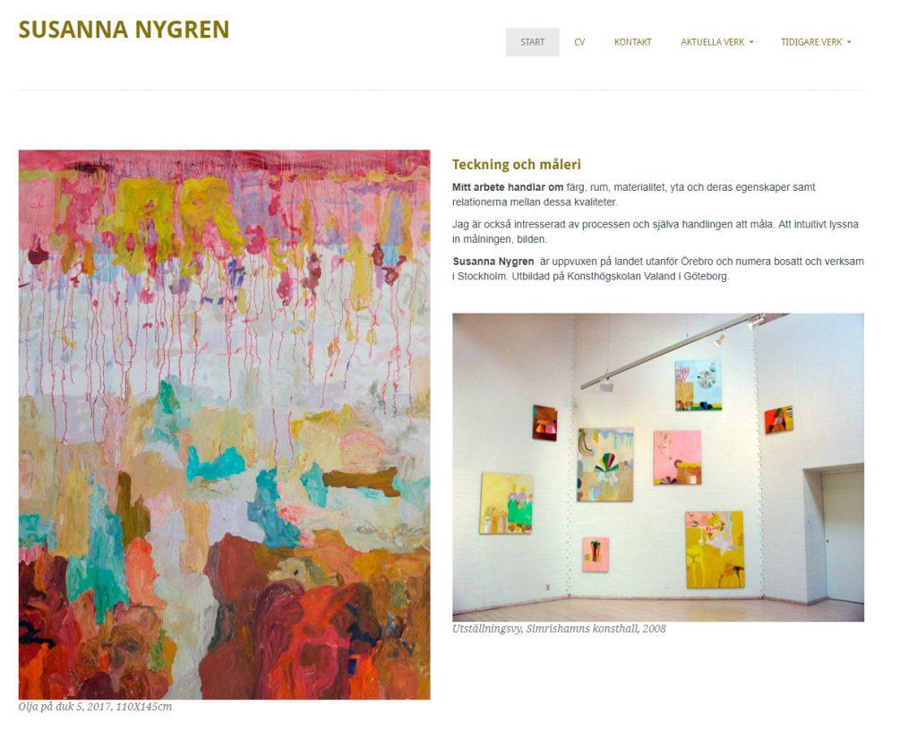 Susanna Nygren, konstnär, hemsida av Webbduon