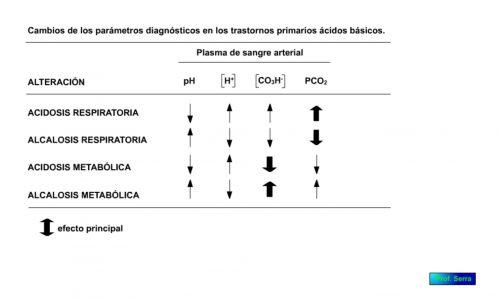 Cambios de los parámetros diagnósticos en los trastornos primarios ácido básicos.